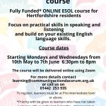 ESOL Communication course - FREE for Hertfordshire Residents