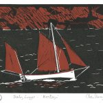 A New Linocut Print:    Tenby Lugger - 'Heritage'