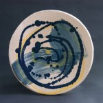 Blue and yellow spiral plate
