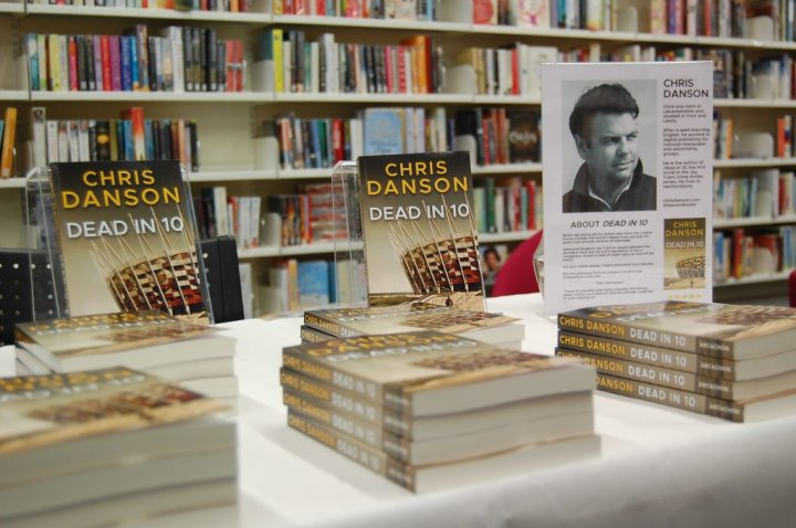 Chris Danson's Dead in 10 ready for a book signing in Harpenden