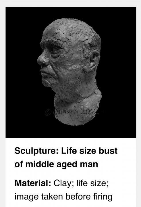 Life size bust of a middle aged man