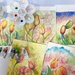 Watercolour Tulip Workshop Paintings