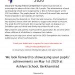 DYA 2020 Exhibition will be at Ashlyns School 2nd May 2020