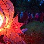 Choir with paper light sculpture